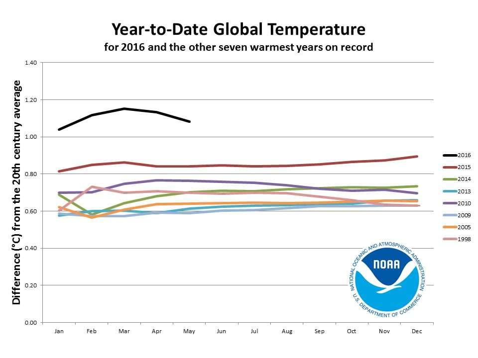 Les 7 années les plus chaudes avaient une température entre 0,6 et 0,9 °C plus élevée que la moyenne du XXe siècle. Pour les cinq premiers mois de 2016, elles sont toutes supérieures à 1 °C. © NOAA