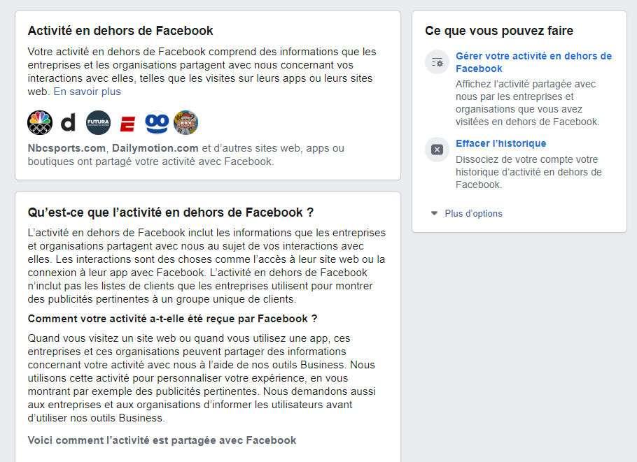 Voici l'outil qui vous permet de gérer les informations récoltées par Facebook © Futura / Facebook