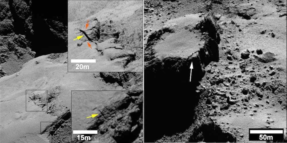 Deux exemples de fractures observées par Rosetta dans la région d'Ash, sur le plus grand des deux lobes du noyau de Tchouri. À gauche, dans l'encadré du haut, les flèches orange indiquent les fractures les plus anciennes. La jaune en montre une plus récente dont la largeur est estimée de 1 à 1,2 m. À droite, on distingue un relief peu à peu grignoté par l'érosion, Une grosse fracture est indiquée par la flèche. Des éboulis témoignent du démantèlement de la falaise. © Esa, Rosetta, MPS for OSIRIS Team MPS, UPD, LAM, IAA, SSO, INTA, UPM, DASP, IDA
