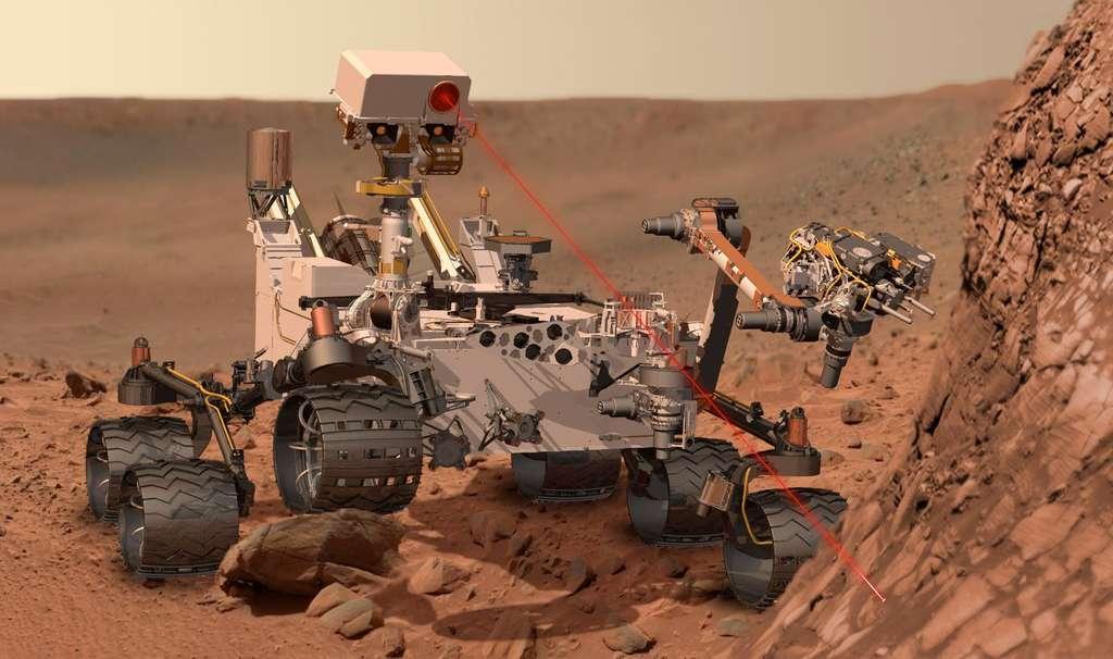 Les deux instruments franco-américains de la mission sont ChemCam et Sam. ChemCam analysera par spectrométrie la lumière d'un plasma issu d'un tir laser sur des roches martiennes situées entre 2 et 7 m autour du rover. Quant à la suite d'instruments Sam, elle réalisera des analyses des roches, du sol et de l'atmosphère afin de rechercher les composés chimiques liés au carbone et associés à la vie. © Nasa/JPL