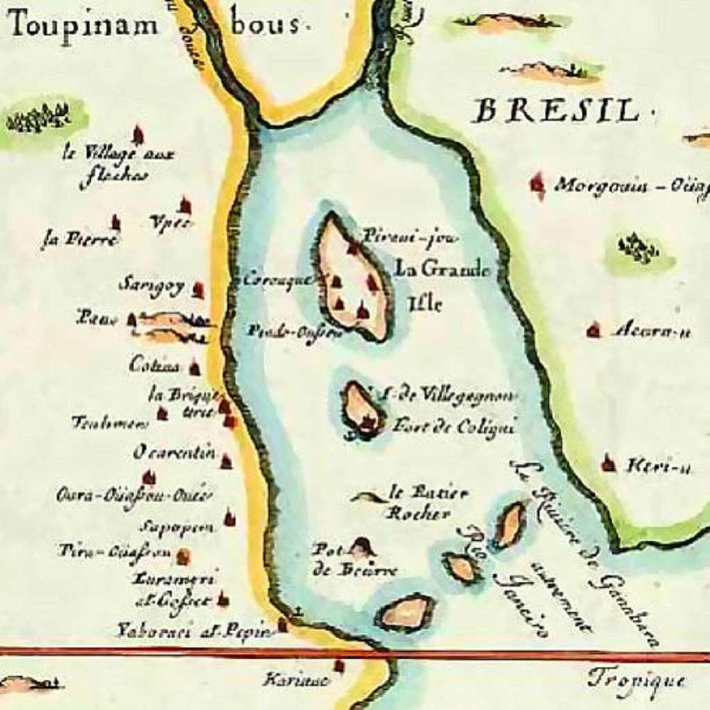 Carte de la France Antarctique, baie de Rio en 1555. © Wikimedia Commons, domaine public