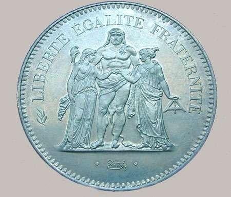 Revers d'une pièce Hercule 50 FF frappée à 4,2 millions d'exemplaires en 1974 sous Giscard, d'un poids total de 30 g dont 27 g Ag.