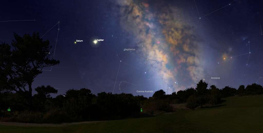 Le 14 juillet 2020, vers minuit, Jupiter est bien visible entre le sud-est et le sud, à droite de Saturne. Les deux planètes géantes brillent cet été au sein de la constellation du Sagittaire, en direction de laquelle se situe le centre de la Voie lactée. © SkySafari