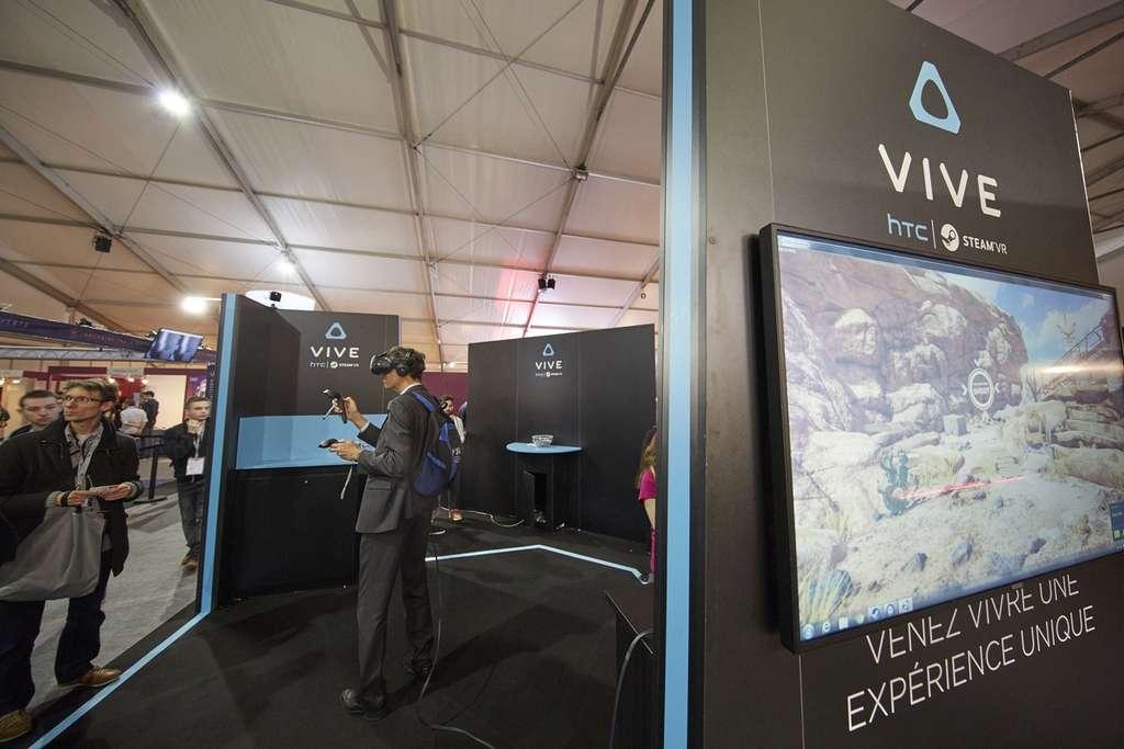 HTC et Microsoft ont fait le déplacement au salon Laval Virtual, mais pas Oculus VR, le fabricant du casque Oculus Rift propriété de Facebook. © Laval Virtual