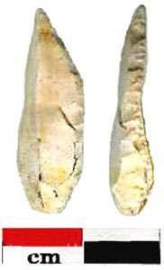 Pointe à dos sub anguleux. Ce type d'objet, large et trapu, est caractéristique de l'Epipaléolithique (environ 11500 B.P.). Il est accompagné de petits grattoirs et de rares lamelles à dos. © : F. Bazile, 2006 Reproduction et utilisation interdites