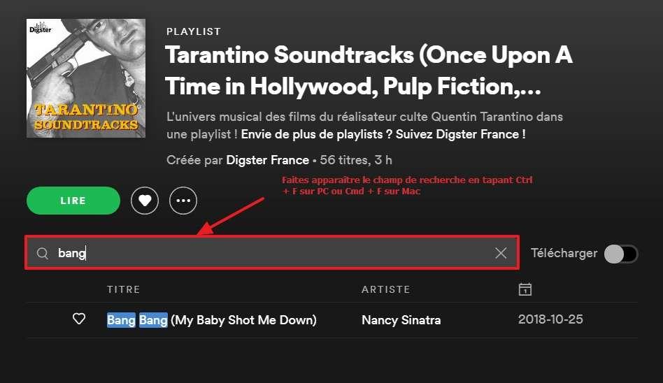 Utilisez la fonction « Filtre » pour accéder à un titre plus rapidement. © Spotify AB