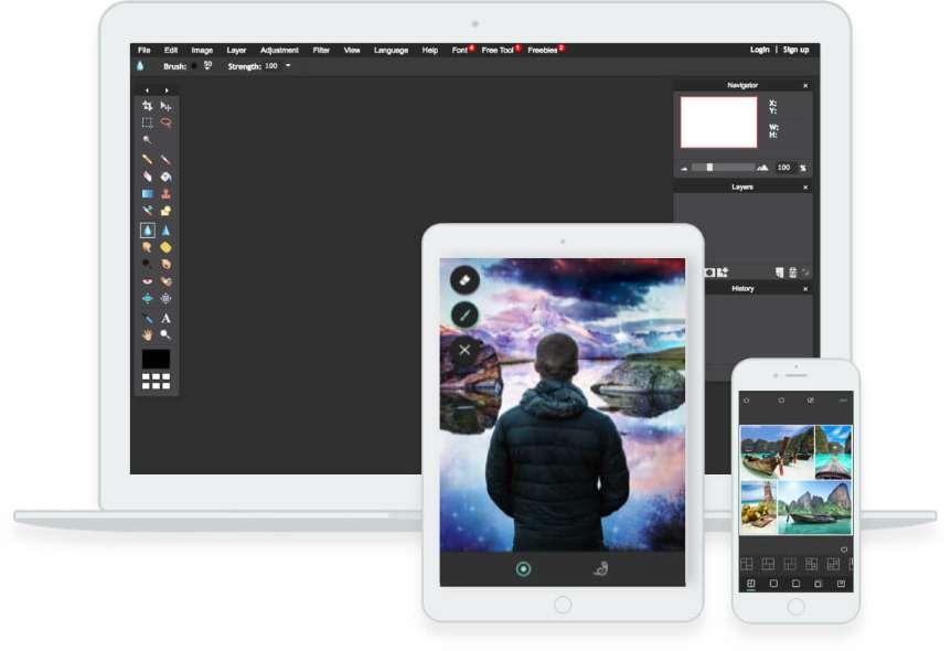 Pixlr est un outil entièrement gratuit et en ligne. © 123RF Limited