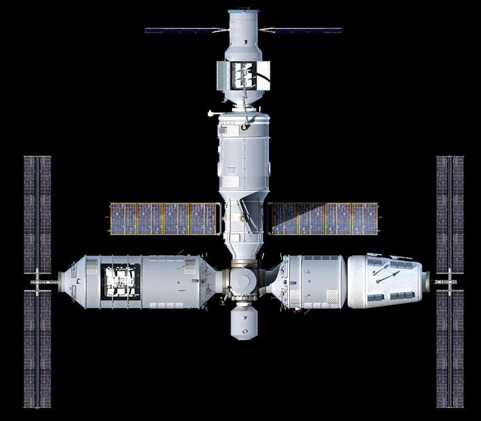 Vue d'artiste de la future station spatiale chinoise. Horizontalement, la station est longue de 35 à 40 mètres. En bas à gauche, le laboratoire avec un instrument d'observation du ciel ou de la Terre. Le module central, auquel est amarré un véhicule de transfert, abrite le carré de l'équipage. © bisbos.com