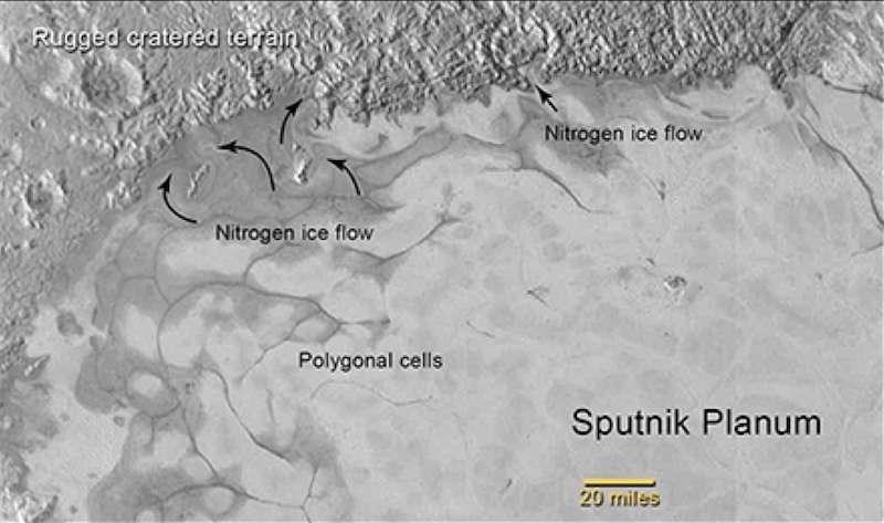 Détails des cellules de glace d'azote (nitrogen) cernées de matière noire dans la plaine Spoutnik. © Nasa, JHUAPL, SwRI