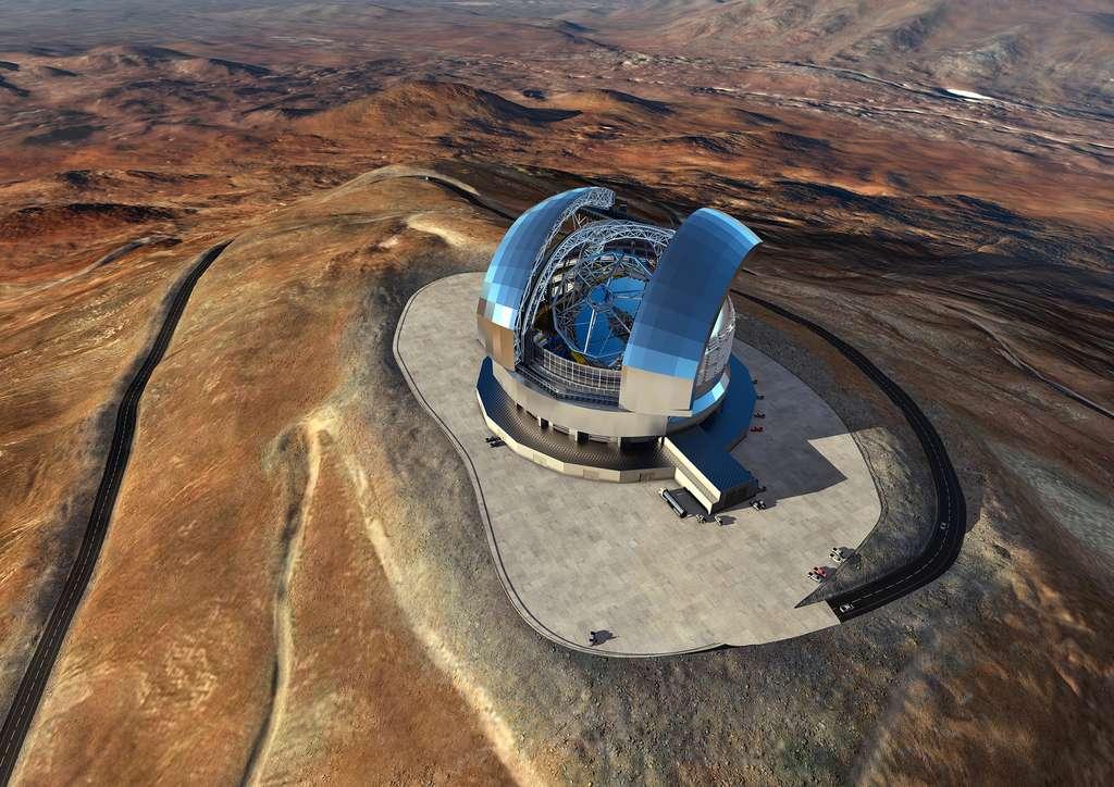 Vue d'artiste du télescope géant de l'ESO (E-ELT), dont la construction a débuté au Chili. Cet observatoire, doté d'un miroir primaire de 39 mètres, sera installé au sommet du Cerro Armazones. Sa mise en service et ses premières lumières sont prévues en 2026. © ESO, L. Calçada, ACe Consortium
