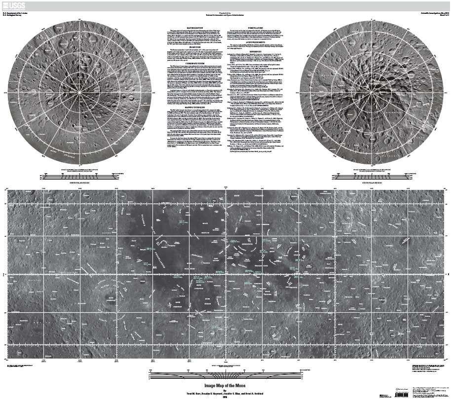 Carte de la Lune en très haute résolution (251 Mb ou 58,4 Mb) créée à partir des images prises par la caméra WAC (Wide Angle Camera) de la sonde LRO. Tous les reliefs d'une taille supérieure à 85 kilomètres sont mentionnés sur la carte. Exception de régions célèbres de taille inférieure. © Nasa, LRO, USGS