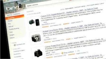 Selon les thèmes de la recherche effectuée, la page des résultats s'agrémente d'images ou de miniatures de la page proposée. (Capture d'écran de la présentation sur le futur site de Bing.)