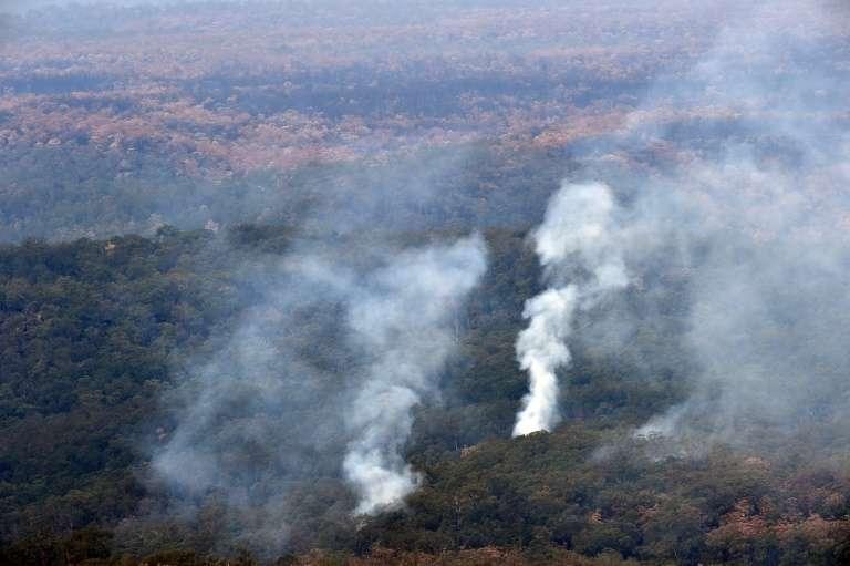 Vue aérienne des feux de forêts en Nouvelle-Galles-du-Sud, le15 janvier 2020 en Australie. © Saeed Khan, AFP, Archives