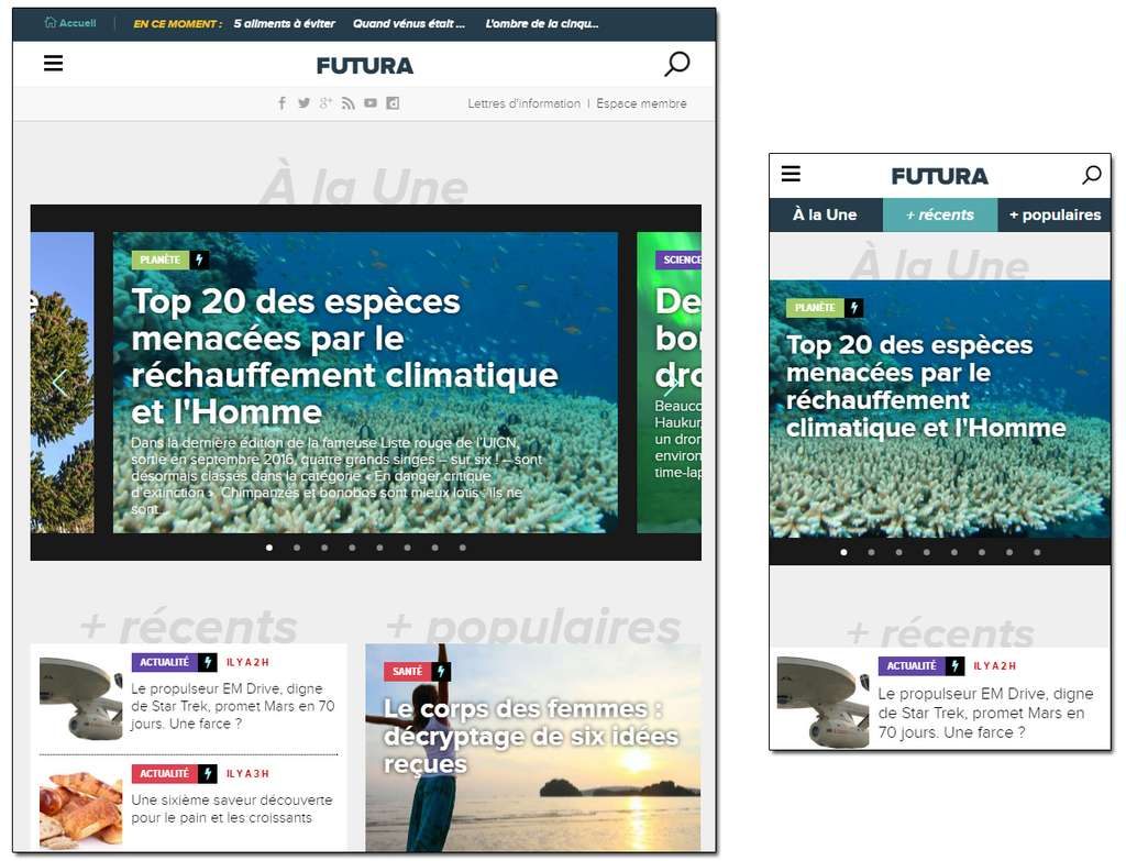 Futura en version tablette (gauche) et mobile (droite). Sous mobile, des onglets vous permettent de naviguer plus facilement sur la page d'accueil.