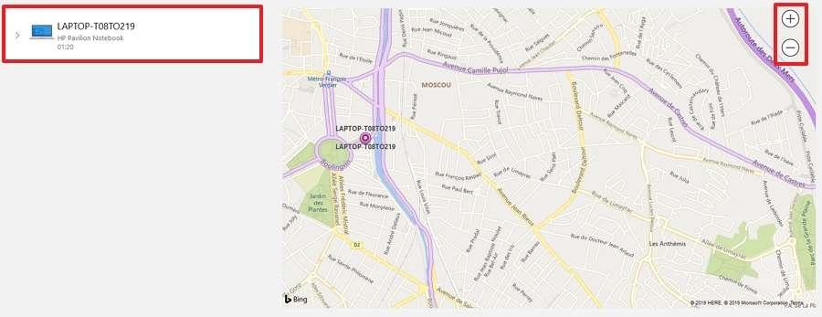 L'endroit où se trouve votre appareil est indiqué sur la carte. © Microsoft