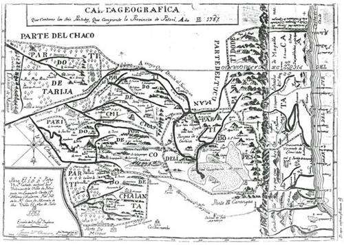 Cliquez pour agrandir l'image Cette carte de la Province de Potosi datée de 1787 est l'oeuvre de l'historien et administrateur paraguayen de l'empire espagnol Cañete. Le nord est situé au bas de la carte car son auteur a mis bien sa carte orientée vers le Pôle Sud. Elle montre particulièrement tous les chemins qui reliaient la grande cité de l'argent au monde tant vers l'Océan Pacifique la ville d'Arica ou la route du poisson, la route vers La Paz, puis Cusco, et ensuite Lima classiquement la route de l'argent, du mercure et de la coca, la route de Cochabamba qui fournissait les vivres et enfin celle de l'Argentine jusqu'à Buenos-Aires d'où venaient particulièrement le bois et les mules. Fonds de l'Archivo y Biblioteca Nacionales de Bolivia. © Alain Gioda / IRD, avec l'autorisation de l'ABNB.