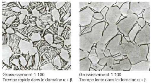 Selon le traitement qui lui est appliqué, le TA6V présente une microstructure différente : ici, une structure dite duplex à gauche et une structure dite équiaxe à droite. © in2p3