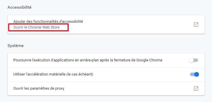 Cliquez sur « Ouvrir le Chrome Web Store » dans les paramètres avancés. © Google Inc.