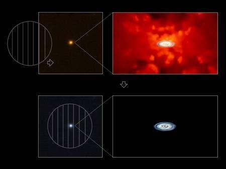 Cliquez pour agrandir. Représentation d'artiste de l'image d'un quasar avant et après soustraction de la lumière non polarisée. Le, disque d'accrétion en blanc-bleu devient alors visible. Crédit : M. Kishimoto, M. Schartmann