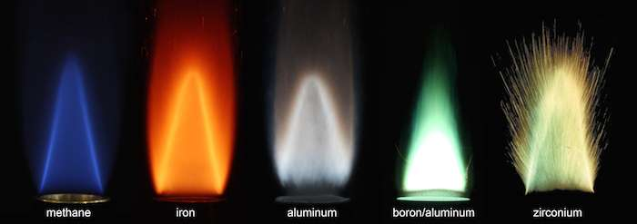 Quelques exemples de flammes stabilisées produites par la combustion de poudres métalliques (fer, aluminium, bore-aluminium et zirconium) au contact de l'air et la comparaison avec une flamme produite par la combustion de méthane. © Alternative Fuels Laboratory, université McGill