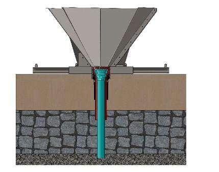 Le cône d'entrée du foret utilisé. Il faut trouver une surface relativement plane de façon à fixer les deux bras du cône d'entrée. Une base de 30 m de sédiments est requise. © IODP