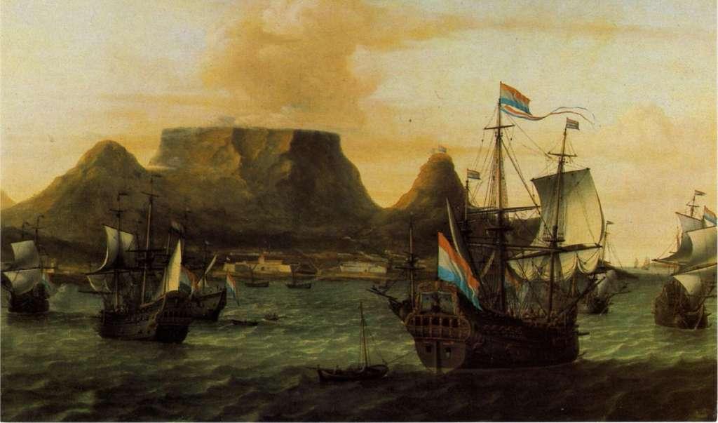 Vue de la baie du Cap : bateaux de la Compagnie hollandaise des Indes Orientales (VOC), par Aernout Smit en 1679. Chavonnes Battery Museum, Le Cap (Cape Town). © Chavonnes Battery Museum.