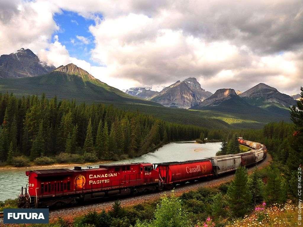 Train Canadian Pacific dans les Rockies Mountains