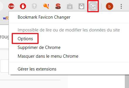 Choisissez « Options » dans le menu de l'extension Bookmark Favicon Changer. © pxhere.com