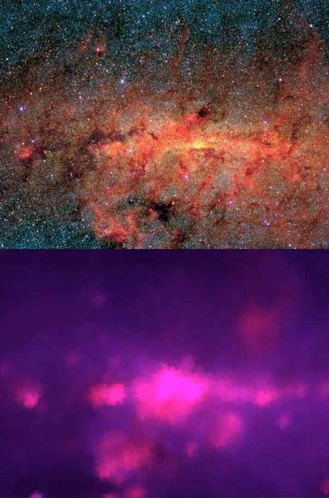 En bas, une image du centre de notre galaxie prise en 1983. La même zone observée par MSX un quart de siècle plus tard. © Nasa/JPL-Caltech/IRAS/MSX