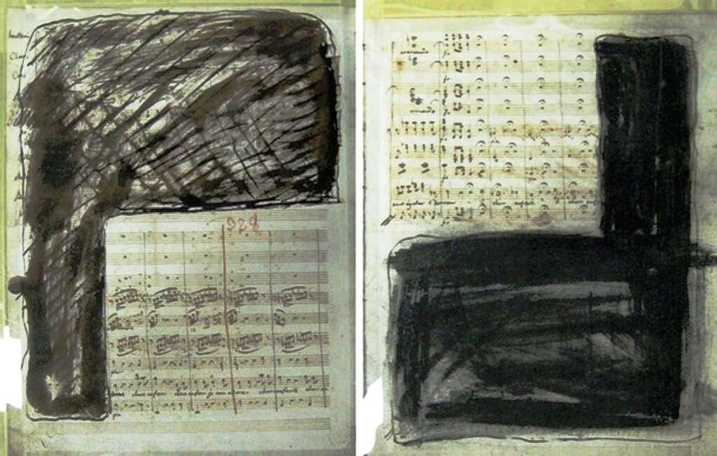 Deux pages de l'aria de Médée qui ont été mutilées par son compositeur, Cherubini. La couche de carbone dont il a recouvert ses partitions est par chance transparente aux rayons X, et cela permet une analyse par spectrométrie de fluorescence X. © UweBergmann, Slac