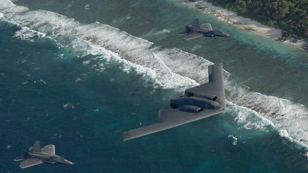 Deux F-22 Raptors et un bombardier B-2 Spirit