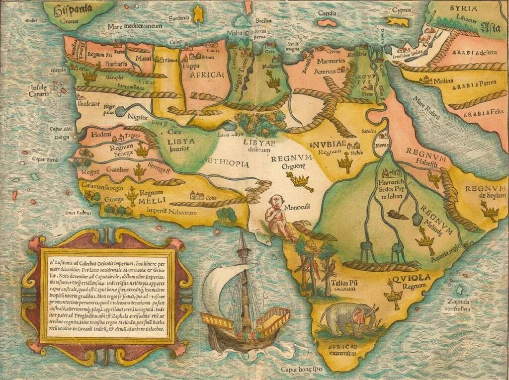 Carte de l'Afrique inspirée de Ptolémée, par Sebastian Münster en 1554. © Wikimedia Commons, domaine public
