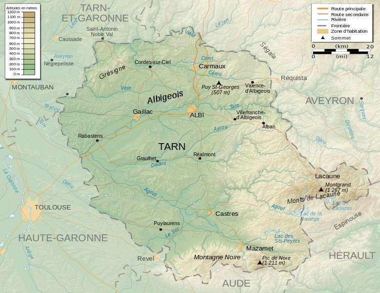 Carte du département du Tarn avec les principales villes et l'altitude. © Pinpin, Wikipédia, CC by-sa 3.0