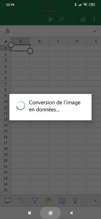 La conversion de la photo en données est rapide. © Microsoft