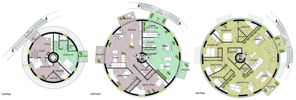 Une organisation possible des différents appartements à l'intérieur d'un silo à pétrole. Ils sont accessibles par un ascenseur central ou par un escalier extérieur. Le logement en jaune fait 225 m² et peut accueillir 6 personnes. Le rose mesure 180 m² et est prévu pour 4 personnes. Le vert, enfin, est destiné à un couple. Il a une surface de 90 m². © Pink Cloud, CC by-nc-nd 3.0