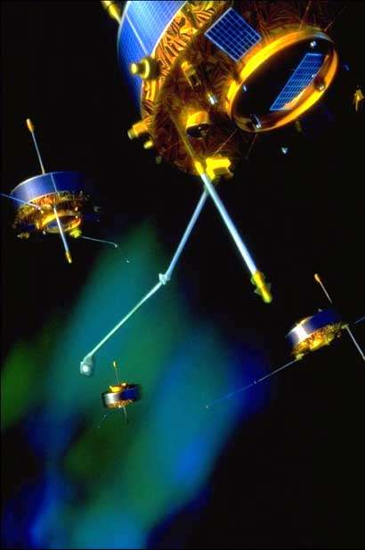 La constellation Cluster (vue d'artiste). Crédit Esa