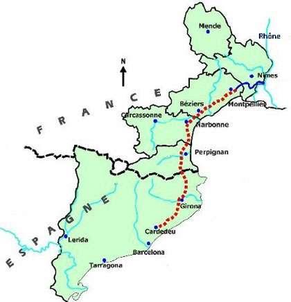 Plan de l'aqueduc Rhône-Espagne. Le projet a finalement été abandonné. © DR
