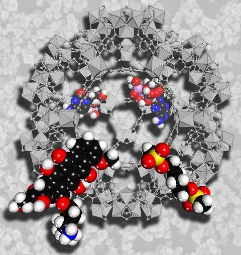 Les cages moléculaires d'un matériau poreux peuvent servir à transporter un médicament. Ce schéma montre une cage de MIL-101 (en gris) capturant quatre molécules (en couleurs) : Cidofovir (un anti-cytomegalovirus), AZT (anti-HIV), busulfan (anti-leucémie) et de Doxorubicine (contre le cancer du sein) (à partir d'en haut à gauche et dans le sens des aiguilles d'une montre). Le MIL-101 peut ainsi les accueillir et les transporter. Le fond de l'image représente les nanoparticules de MIL-101. © Gérard Férey