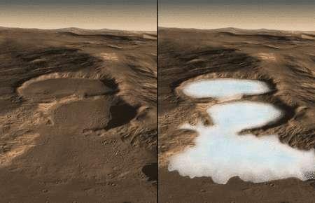 Cliquez pour agrandir. Les données de Sharad et les images des glaciers d'Hellas obtenue davec la sonde européenne Mars express et la High Resolution Stereo Camera (HRSC) sont combinées dans une simulation informatique pour révéler sous une couche de débris rocheux un glacier épais de quelques centaines de mètres et s'étendant sur des dizaines de kilomètres. Crédit : Nasa/Caltech/JPL/UTA/UA/MSSS/ESA/DLR Eric M. De Jong, Ali Safaeinili, Jason Craig, Mike Stetson, Koji Kuramura, John W. Holt