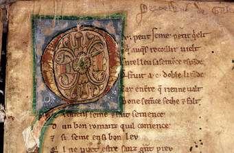 (Cliquer pour agrandir.) Enluminure tirée du manuscrit de Perceval Le Galloys (XIIIème siècle), trouvée sur Europeana. © CNRS