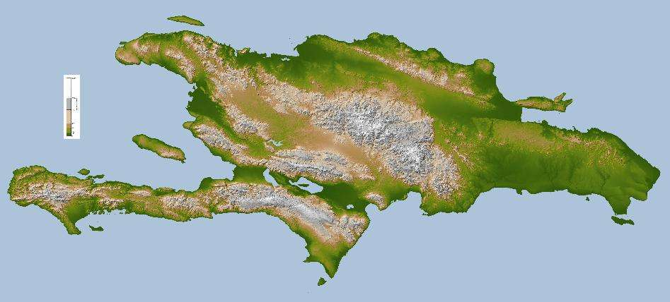 L'île Hispaniola (aussi appelée Saint-Domingue) abrite Haïti à l'ouest et la République dominicaine à l'Est. © DR