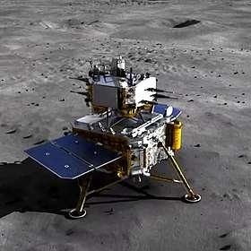 Vue d'artiste de la sonde Chang'e 5 sur le sol lunaire. © China News Service, Wikimedia Commons, CC by 3.0
