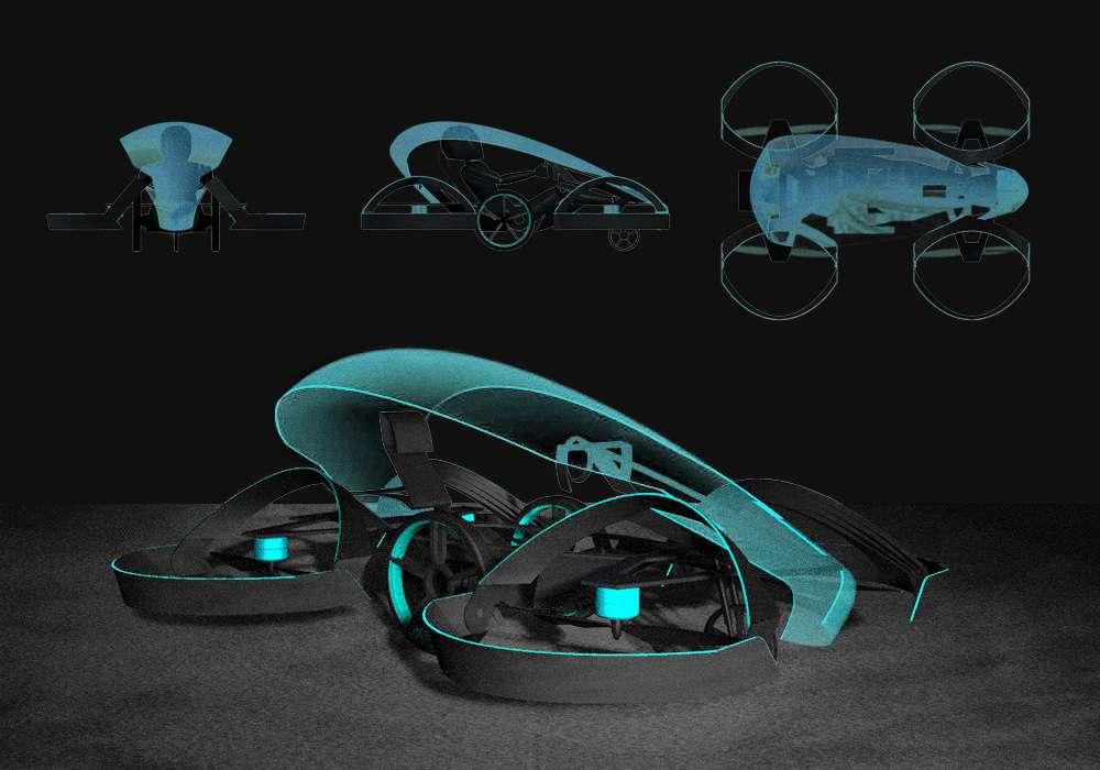 Étude conceptuelle de la SkyDrive. © Cartivator