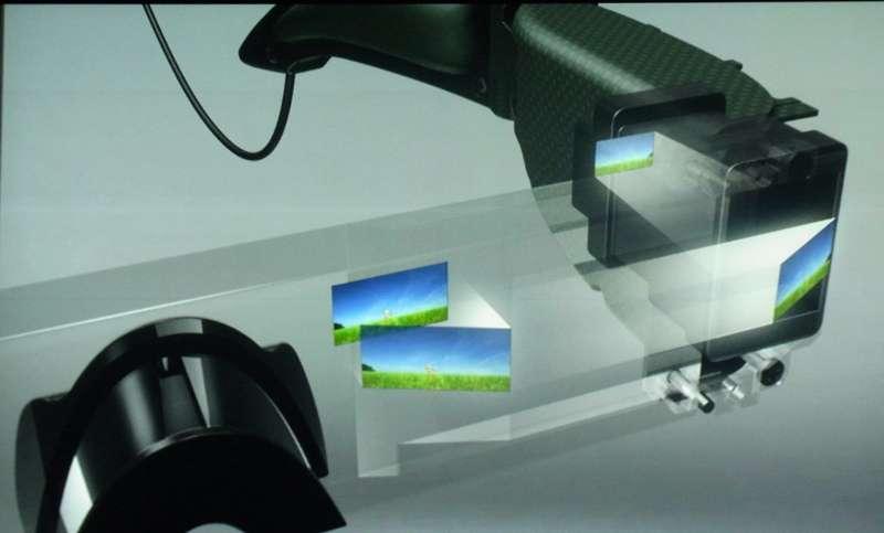 Les écrans LCD, installés latéralement, produisent deux images, projetées dans l'épaisseur du verre, devant chaque œil. Il est possible d'obtenir un effet 3D avec deux images légèrement différentes. © Nikkei