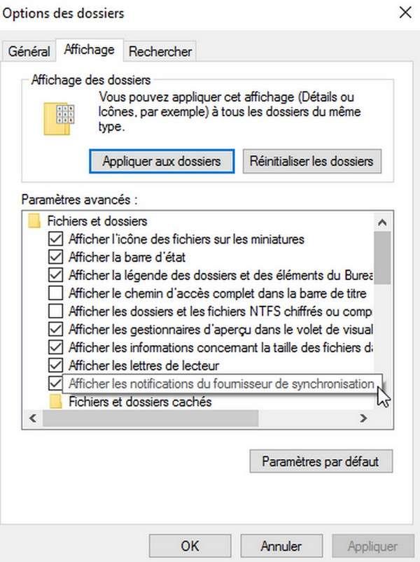 L'option à décocher pour ne pas recevoir de publicités se trouve dans les options de l'explorateur de fichiers de Windows 10. © Marc Zaffagni