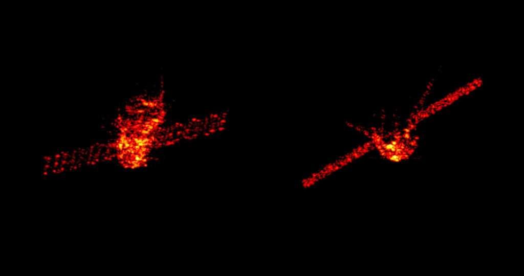 Le module chinois Tiangong-1, alors à 270 kilomètres d'altitude, quelques jours avant sa rentrée dans l'atmosphère terrestre. Ces images radar ont été acquises par un système de surveillance et d'imagerie radar allemand opéré par l'Institut Fraunhofer FHR, basé à Wachtberg, en Allemagne. © Fraunhofer FHR.
