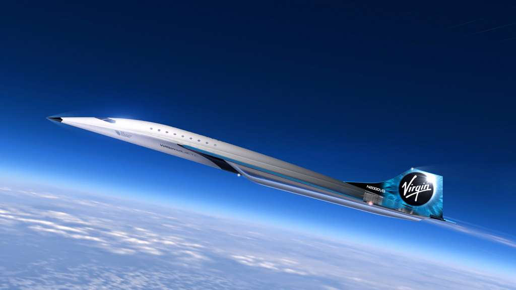 Vue d'artiste du projet d'avion supersonique de Virgin Galactic motorisé par Rolls-Royce. © Virgin Galactic