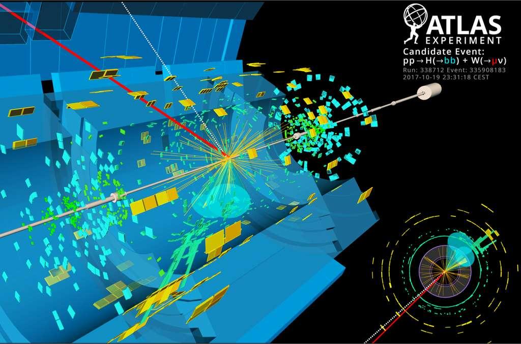 Évènement candidat enregistré par Atlas pour une désintégration du boson de Higgs (H) en deux quarks b, associée à une désintégration d'un boson W en un muon (µ) et un neutrino (ν). © ATLAS/CERN