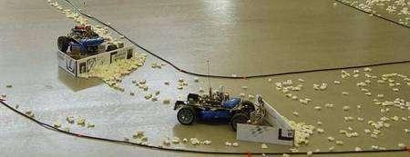 Ces chasse-neige miniatures poussent devant eux les boules de polystyrène qui encombrent la piste. Celles qu'a chassées le leader (à droite) viennent d'être reprises par le deuxième robot (à gauche). © M. Saska, M. Hess, K. Schilling