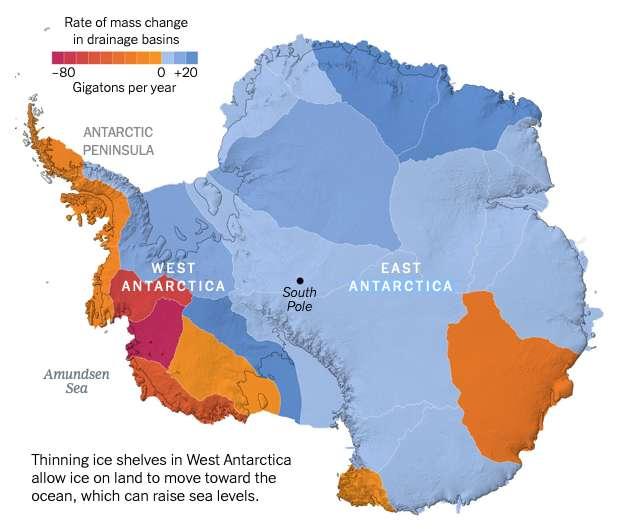 En Antarctique, les plates-formes glaciaires ont dangereusement fondu. © Nasa ICESat et ICESat-2